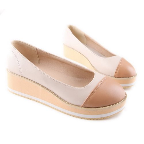 US Material Colors 5 5 M Round WeiPoot Toe PU Girls Assorted Heel B Pumps Kitten Soft Closed Beige 8xTqxO4