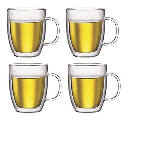 Bodum Bistro Double-Walled Glass Clear 15 Ounce / 0.45 L Jumbo Coffee Mug, Set of 4 ()