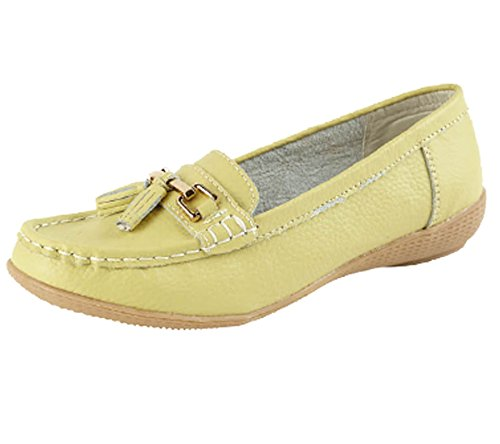 Jo & Joe Ladies Leather Moccasins Loafer Plimsole Pumps Womens Tassel Flat Shoes Lime pjNMwJQ