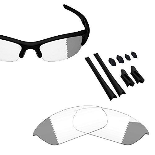 BlazerBuck Anti-salt Replacement Lenses & Sock Kit for Oakley Flak Jacket - Clear Black ()