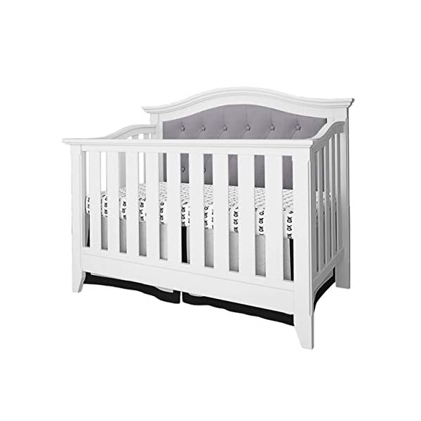 Belle Isle Furniture Magnolia Upholstered 4-in-1 Convertible Crib White/Gray Linen