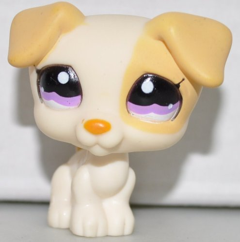 Jack Russell #1110 (Cream, Purple Eyes, Yellow Accents) Littlest Pet Shop (Retired) Collector Toy - LPS Collectible Replacement Single Figure - Loose (OOP Out of Package & -