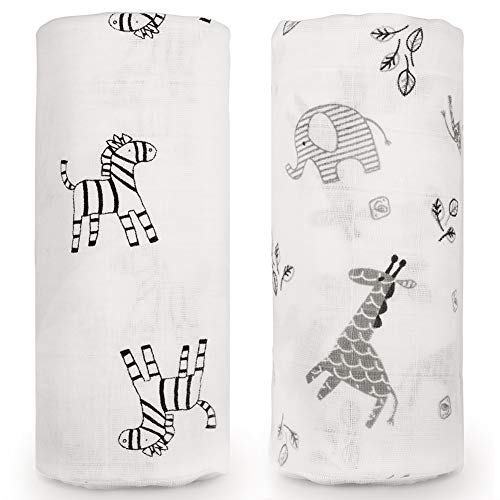 Baby Swaddle Blanket, Organic Muslin Cotton Newborn Receiving Wrap Blankets for Unisex, Personalized Baby Shower Gifts, Large 47 x 47 inches, Set of 2 (Zebra & Elephant) ()