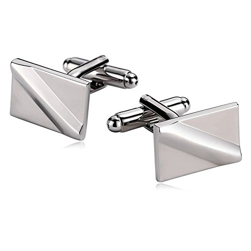 - Gnzoe Men Stainless Steel Shirt Cuff Links Wedding Business Diagonal Raised Lines Silver