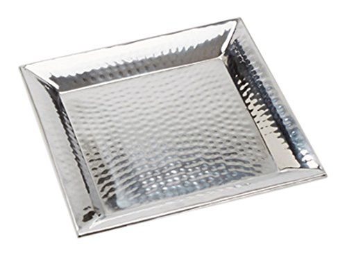 (American Metalcraft HMSQ12 Serving Tray, Hammered, Square, Stainless Steel, 1