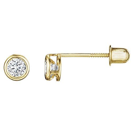 Earrings Solid 14kt (14kt Solid Gold Kids Stud Screwback Earrings - Clear)