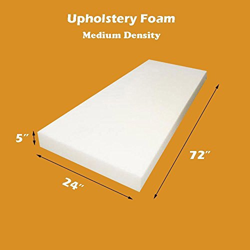 Mybecca 5''L x 24''H x 72''H Upholstery Foam Cushion Medium Density (Seat Replacement , Upholstery Sheet , Foam Padding) by Mybecca
