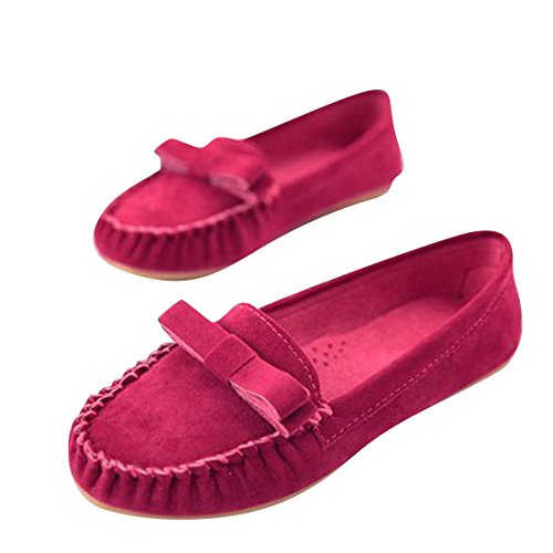 Jeansian Women's Fashion Flats Shoes Red 35