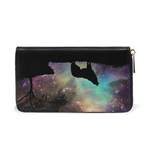Galaxy Wolf Genuine Leather Girl Zipper Wallets Clutch Coin Phone for Women by FeiHuang (Image #3)
