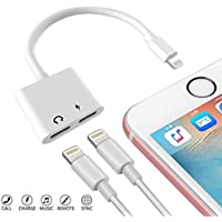 Excellenter Compatible Adapter & Splitter Replacement for IP 7/7 Plus / 8/8 Plus/X, Dual 8 Pin Headphone Jack Aux Audio & Charging & Calling & Sync Cable Connector Earphone Charger