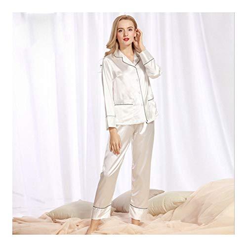 Pezzi Lunghe Seta Sleepwear Di Marca Pigiama Pigiama Di bianca Lady Donna Notte Maniche Pantalone 2 HAOLIEQUAN Set Pigiama Set Spring Da Da 78wqPav5X