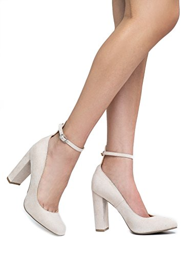 J. Adams Ankle Strap High Heel - Trendy Block Heel Pump - Classic Ankle Buckle Party Shoe - Emery