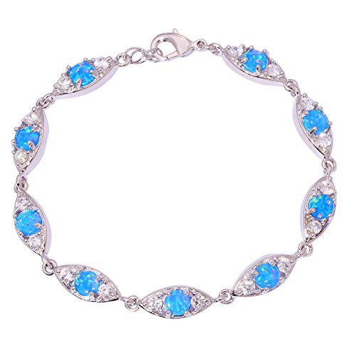 CiNily Created Blue Fire Opal Zircon Rhodium Plated for Women Jewelry Gemstone Bracelet 7 7/8