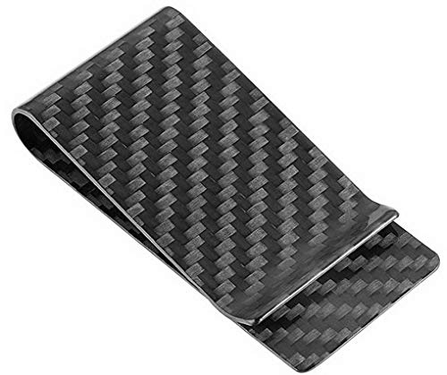 Unique Money Clips - Travelambo Carbon Fiber Money Clip Front Pocket Wallet Minimalist Wallet Slim Wallet Credit Business Card Holder (CB black)