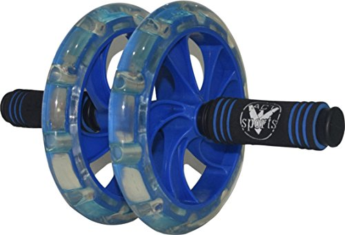 V-Act Sports PRO ABS Workout Roller Wheel Exercise Equipment w/Knee Mattress - Sturdy and Well Made - Blue - PP - Fit for All Surfaces and Extremely Light