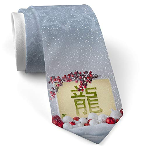 Christmas NeckTie Dragon Chinese characters, green letter White with Snow ()