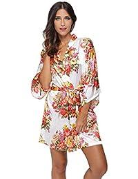 KimonoDeals Women's dept Satin Short Floral Kimono Robe for Wedding Party