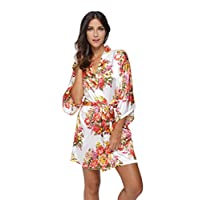KimonoDeals Women's Satin Short Floral Kimono Robe For Wedding Party, White M