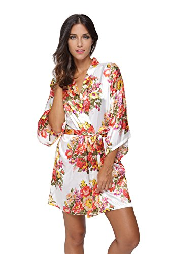 KimonoDeals Women's dept Satin Short Floral Kimono Robe for Wedding Party, White L -