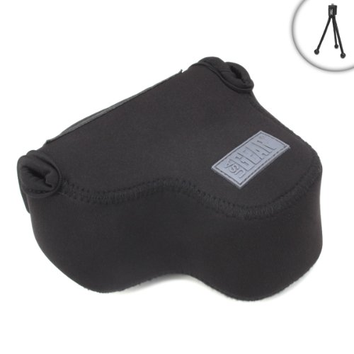 USA Gear Offset Digital Camera Sleeve Case with Protective Neoprene Material - Compatible with Sony Alpha a9, a6500, a6300 and More - Includes Bonus Mini Tripod