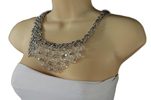 TFJ Women Metal Chain Side Fringes Fashion Necklace Clear Flowers Beads Wide Bib Pendant Charm