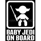 Baby Jedi on Board Die Cut Vinyl Car Decal Wall Sticker