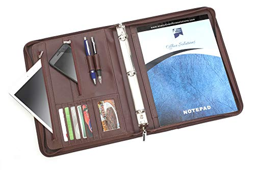 Professional Executive Business Padfolio Portfolio Case with 3 Ring Binder - PU Leather Resume & Document Organizer with 10.1 inch Tablet Sleeve, Zipper, Premium Paper Pad – Almond (Clear Front Pocket Padfolio)
