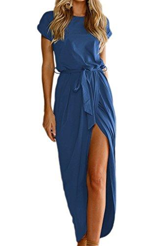 Las Mujeres Verano Manga Corta Una Linea De Vestido De Cóctel Long Beach Blue XL