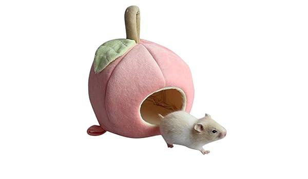Erwazi Hamster Small Pet House Bed Cute Peach Dutch Pig Hammock Rat Hamster Winter Warm Fleece Squirrel Hedgehog Chinchilla Rabbit Guinea Pig Bed House Cage,32.5 x 30in