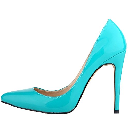 HooH Damen High Heel Spitze Zehe Stiletto Hochzeit Pumps Slip On Blau-1