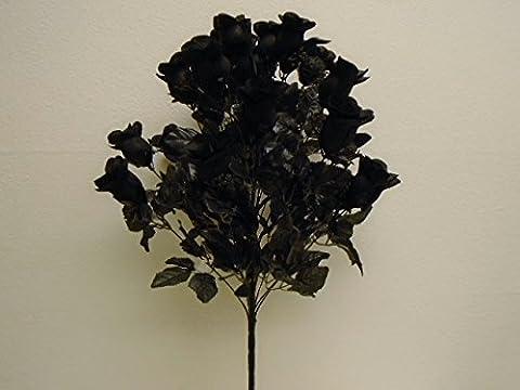BLACK Rose Buds Bush 24 Artificial Silk Flowers 24