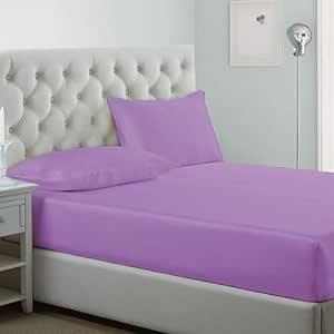 طقم مفرش سرير 3 قطع من اي بيد هوم ، ميكروفيبر، مقاس كينغ, بنفسجي, King