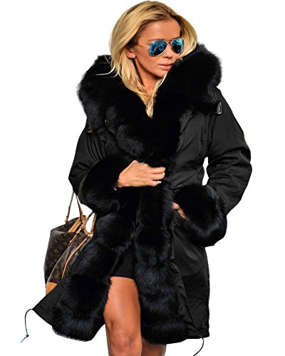 Aofur Womens Hooded Faux Fur Lined Warm Coats Parkas Anoraks Outwear Winter Long Jackets (Large, Black_Black Fur) ()
