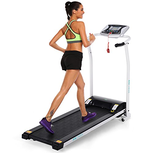 ANCHEER Folding Electric Treadmill 502 Easy Assembly Motorized Running Machine with Rolling Wheels White