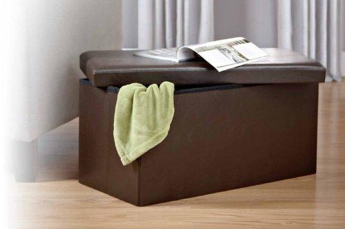 Amazon.com Kings Brand Brown Faux leather Folding Storage Ottoman Bench/Footstool Home u0026 Kitchen & Amazon.com: Kings Brand Brown Faux leather Folding Storage Ottoman ...
