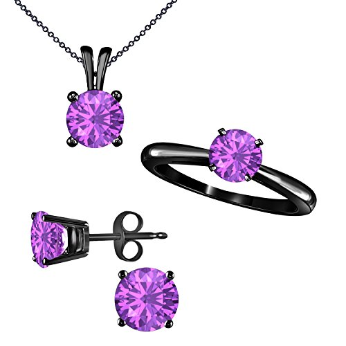 Silver Gems Factory Gorgeous Round Shape Brilliant Cut Lab Created Purple Amethyst Ring Earrings and matching Pendant Jewelry Set in 14K Black G Finish Alloy