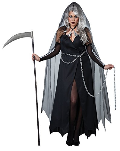 California Costumes Women's Plus-Size Lady Reaper Scary Ghost Demon Costume In Plus, Black, XX-Large]()