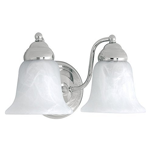 - Capital Lighting 1362CH-117 2-Light Vanity Fixture, Chrome Finish with Faux White Alabaster Glass