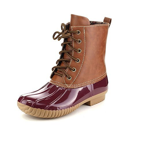 AXNY Dylan Women's Lace Up Two Tone Combat Style Calf Rain Duck Boots,Bordeaux,7