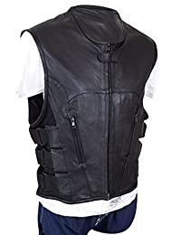 Mens Real Sexy S.W.A.T Style Black Leather Bikers Waistcoat Vest BLUF (SWAT1)