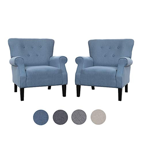 Top Space Accent Chair Sofa Mid Century Upholstered Roy Arm Single Sofa Modern Comfy Furniture for Living Room,Bedroom,Club,Office (2 PCs,Blue)