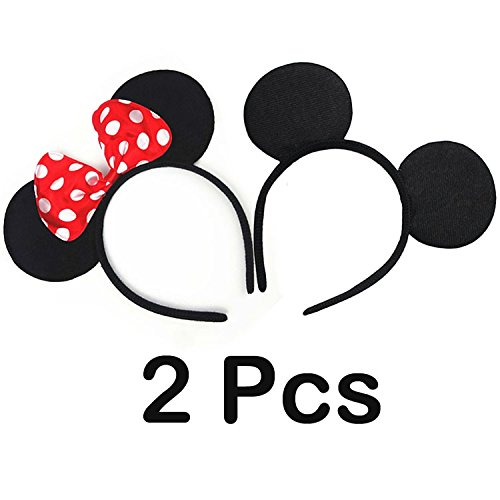 AStorePlus Super Cute Bow Mouse Ears headband, 2 Pcs (Cute Halloween Costumes For Two Kids)