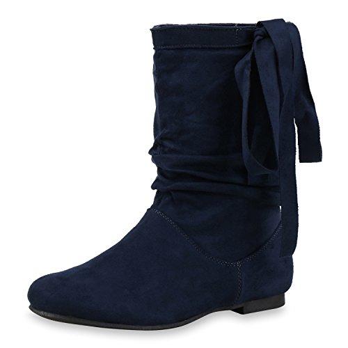 Japado - Botas plisadas Mujer azul oscuro
