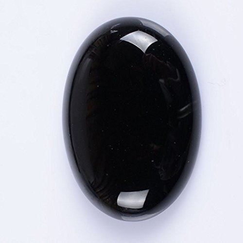 (Natural Gemstone Oval Cabochon CAB Flatback Semi-Precious Ring Face Loose Beads,DIY (Black Agate, 25x18mm))