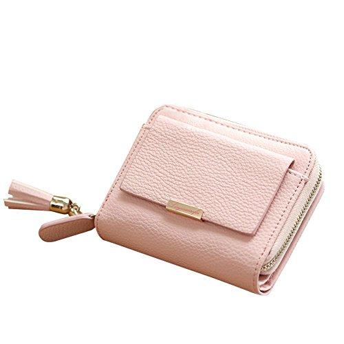 Woolala Damen Kleine Compact Brieftasche Pu Leder Bargeld Kartes Halter Mit Reißverschluss Tasche Kurz Geldbörse, Grau Pink