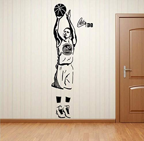 QIANDONG1 NBA Star Golden State Warrior Curry Poster Living Room Bedroom Window Dormitory Decoration Wall Stickers Removable Stickers Home Decoration