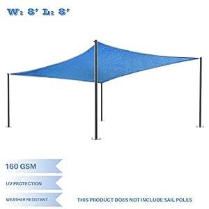 E&K Sunrise 8' x 8' Blue Sun Shade Sail Square Canopy - Permeable UV Block Fabric Durable Patio Outdoor Set of 1