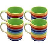 NEW SET OF FOUR 4 MUGS WITH RAINBOW COLOUR HOOPS / STRIPES (CERAMIC KITCHENWARE)