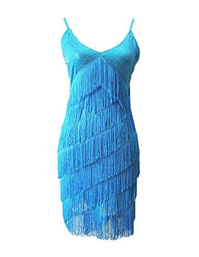 Lago Vestido Moderno Vestido Latín Tassle Concurso Discoteca Mujer Danza Azul Danza 0wz4x0IHUq
