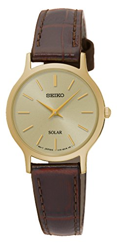 Seiko Solar SUP302 Gold Tone Dial Brown Leather Band Women's Watch